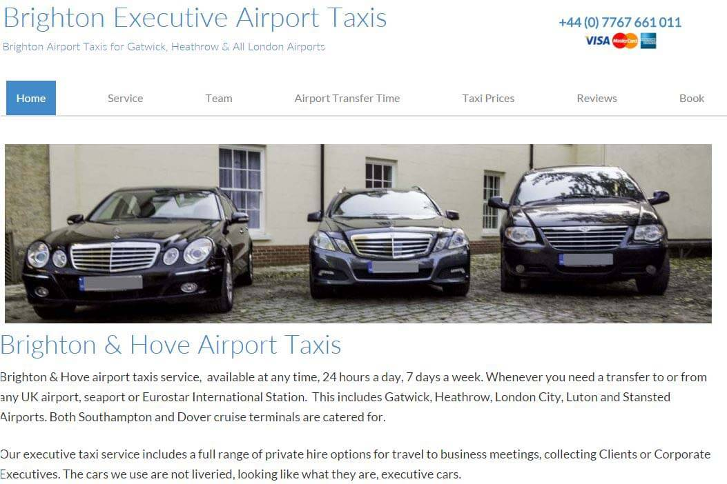 WordPress small business website Executive Airport Taxi Website